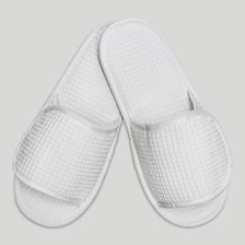White Velcro Adjustable Waffle Adult Slippers-Robemart.com
