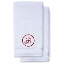 Wine Red Initial Premium Hand Towel Script 16 X 30 Inch, Set of 2-Robemart.com
