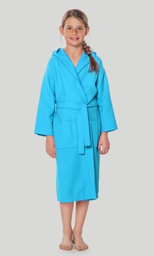 100% Turkish Cotton Turquoise Hooded Waffle Kid's Robe - Final Sale-Robemart.com