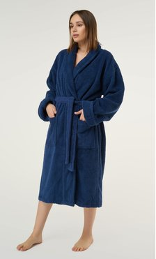100% Turkish Cotton Navy Blue Shawl Terry Bathrobe-Robemart.com