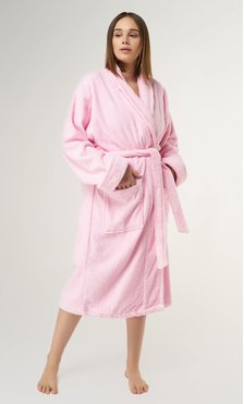 100% Turkish Cotton Pink Shawl Terry Bathrobe-Robemart.com