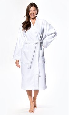 100% Turkish Cotton White Terry / Velour Kimono Bathrobe-Robemart.com