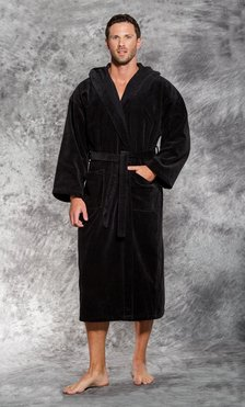 100% Turkish Cotton Black Hooded Terry / Velour Bathrobe-Robemart.com