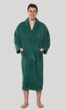 100% Turkish Cotton Forest Green Shawl Terry Bathrobe-Robemart.com