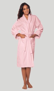 100% Turkish Cotton Pink Shawl Terry / Velour Bathrobe-Robemart.com