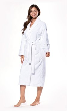 100% Turkish Cotton White Shawl Terry Bathrobe-Robemart.com