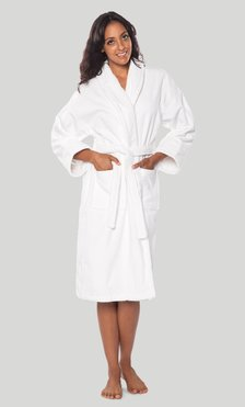 100% Turkish Cotton White Shawl Terry / Velour Bathrobe-Robemart.com