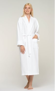 100% Turkish Cotton White Waffle With Velour Shawl Robe-Robemart.com