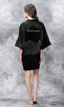 Bridesmaid Clear Rhinestone Satin Kimono Black Short Robe-Robemart.com
