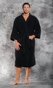 Premium 100% Turkish Cotton Black Terry Kimono Bathrobe-Robemart.com
