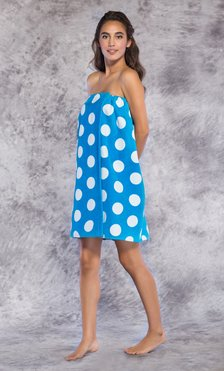 100% Cotton Polka Dot Blue Terry Velour Cloth Spa Wrap, Bath Towel Wrap-Robemart.com