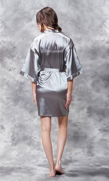 Bridesmaid Clear Rhinestone Satin Kimono Classic Gray Short Robe-Robemart.com
