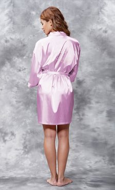Maid of Honor Clear Rhinestone Satin Kimono Lavender Short Robe-Robemart.com