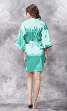 Bridesmaid Clear Rhinestone Satin Kimono Mint Green Short Robe-Robemart.com