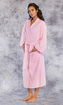 Premium 100% Turkish Cotton Pink Terry Kimono Bathrobe-Robemart.com