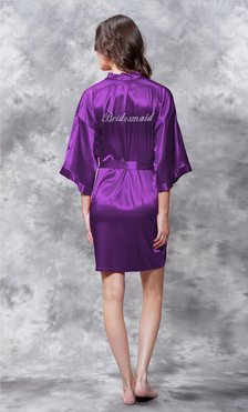Bridesmaid Clear Rhinestone Satin Kimono Purple Short Robe-Robemart.com