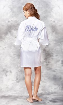 Bride Navy Blue Rhinestone Satin Kimono White Short Robe-Robemart.com