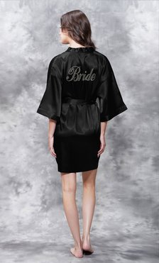 Bride Clear Rhinestone Satin Kimono Black Short Robe-Robemart.com