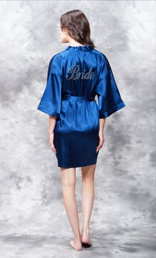 Bride Clear Rhinestone Satin Kimono Navy Blue Short Robe-Robemart.com