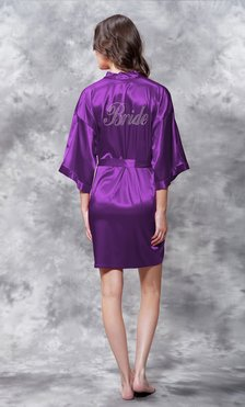 Bride Clear Rhinestone Satin Kimono Purple Short Robe-Robemart.com