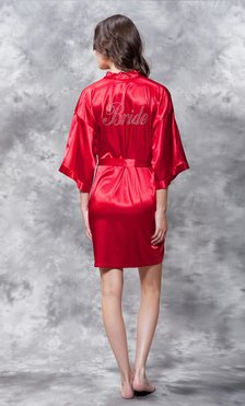 Bride Clear Rhinestone Satin Kimono Red Short Robe-Robemart.com