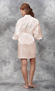 Bride Clear Rhinestone Satin Kimono White Peach Short Robe-Robemart.com