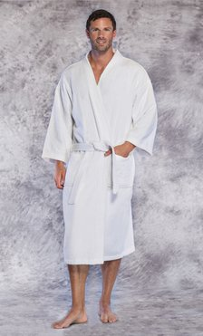 Premium 100% Turkish Cotton White Terry Kimono Bathrobe-Robemart.com