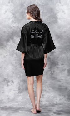Mother of the Bride Clear Rhinestone Satin Kimono Black Short Robe-Robemart.com