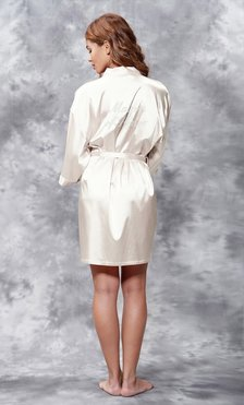 Matron of Honor Clear Rhinestone Satin Kimono Champagne Short Robe-Robemart.com