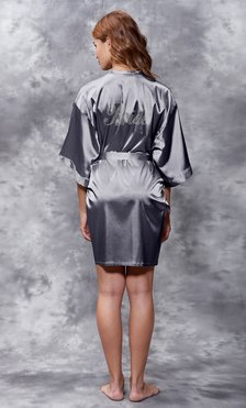 Bride Clear Rhinestone Satin Kimono Charcoal Short Robe-Robemart.com