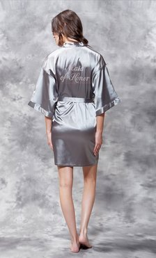 Maid of Honor Clear Rhinestone Satin Kimono Classic Gray Short Robe-Robemart.com