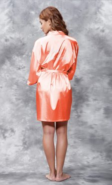 Mother of the Bride Clear Rhinestone Satin Kimono Coral Short Robe-Robemart.com