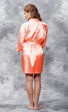Matron of Honor Clear Rhinestone Satin Kimono Coral Short Robe-Robemart.com