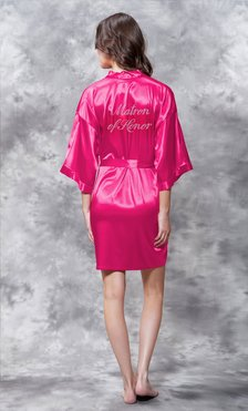 Matron of Honor Clear Rhinestone Satin Kimono Fuchsia Short Robe-Robemart.com