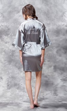 Mother of the Bride Clear Rhinestone Satin Kimono Classic Gray Short Robe-Robemart.com