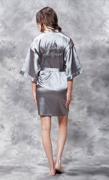 Matron of Honor Clear Rhinestone Satin Kimono Classic Gray Short Robe-Robemart.com