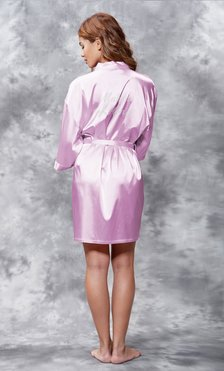 Matron of Honor Clear Rhinestone Satin Kimono Lavender Short Robe-Robemart.com