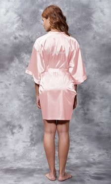 Bridesmaid Clear Rhinestone Satin Kimono Light Pink Short Robe-Robemart.com