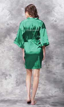 Bridesmaid Clear Rhinestone Satin Kimono Lush Meadow Green Short Robe-Robemart.com