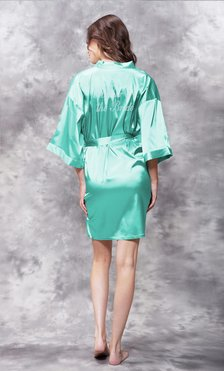 Mother of the Bride Clear Rhinestone Satin Kimono Mint Green Short Robe-Robemart.com
