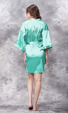 Maid of Honor Clear Rhinestone Satin Kimono Mint Green Short Robe-Robemart.com