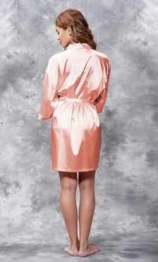 Mother of the Bride Clear Rhinestone Satin Kimono Peach Short Robe-Robemart.com