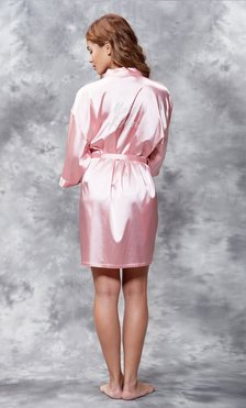 Matron of Honor Clear Rhinestone Satin Kimono Pink Short Robe-Robemart.com