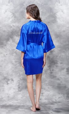 Bridesmaid Clear Rhinestone Satin Kimono Royal Blue Short Robe-Robemart.com