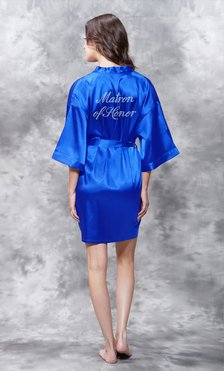 Matron of Honor Clear Rhinestone Satin Kimono Royal Blue Short Robe-Robemart.com