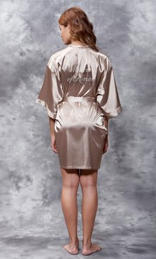 Matron of Honor Clear Rhinestone Satin Kimono Taupe Short Robe-Robemart.com