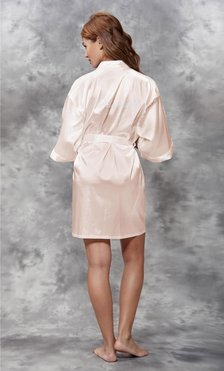 Bridesmaid Clear Rhinestone Satin Kimono White Peach Short Robe-Robemart.com