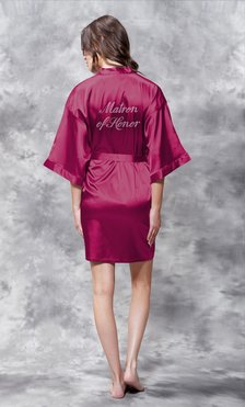 Matron of Honor Clear Rhinestone Satin Kimono Wine Red Short Robe-Robemart.com