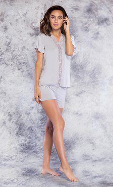 100% Bamboo Lace Trim Gray Women's Pajama Set-Robemart.com