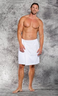 100% Cotton Men White Terry Velour Cloth Body Wrap, Bath Towel Wrap-Robemart.com